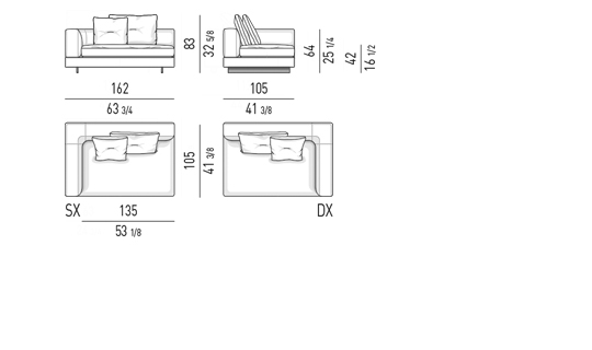 ELEMENT WITH ONE ARMREST LOW CM 162