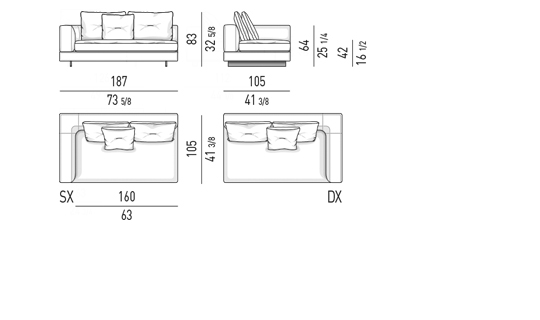 ELEMENT WITH ONE ARMREST LOW CM 187