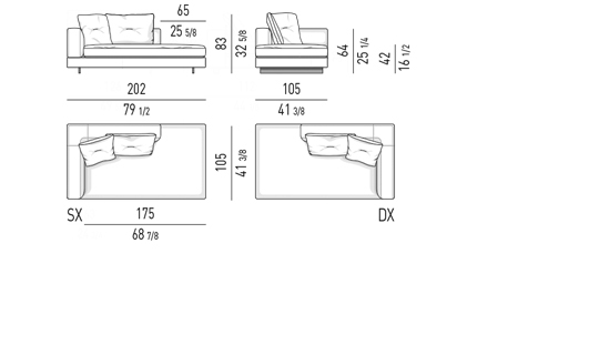 ELEMENT WITH ONE ARMREST LOW CM 202