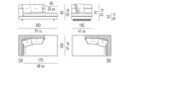 OPEN END ELEMENT WITH ONE ARMREST HIGH CM 202