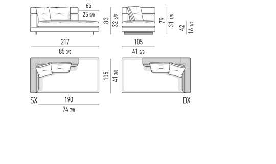 OPEN END ELEMENT WITH ONE ARMREST HIGH CM 217