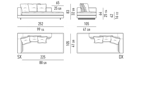 OPEN END ELEMENT WITH ONE ARMREST LOW CM 252
