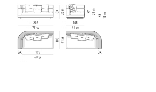 DROP - ELEMENT WITH ONE ARMREST HIGH CM 202