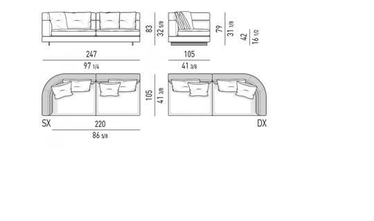 DROP - ELEMENT WITH ONE ARMREST HIGH CM 247