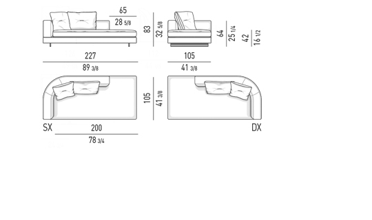 DROP - OPEN END ELEMENT WITH ONE ARMREST LOW CM 227