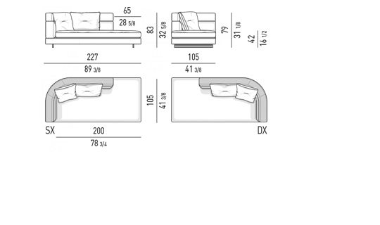 DROP - OPEN END ELEMENT WITH ONE ARMREST HIGH CM 227
