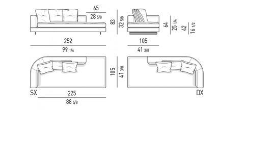 DROP - OPEN END ELEMENT WITH ONE ARMREST LOW CM 252