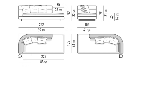 DROP - OPEN END ELEMENT WITH ONE ARMREST HIGH CM 252