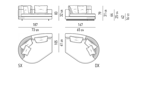 DROP - CHAISE-LONGUE RAY - MIX CM 187X167