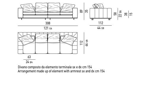 DUVET - COMPOSED SOFA CM  308