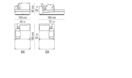 OPEN-END CORNER SOFA CM 103X185
