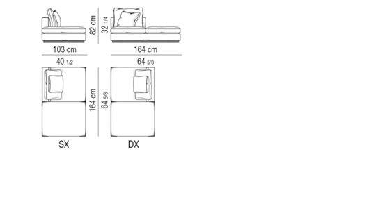 OPEN-END SOFA ELEMENT CM 103X164