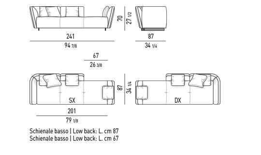OPEN SOFA LOW CM 241 - BACKREST CM 154