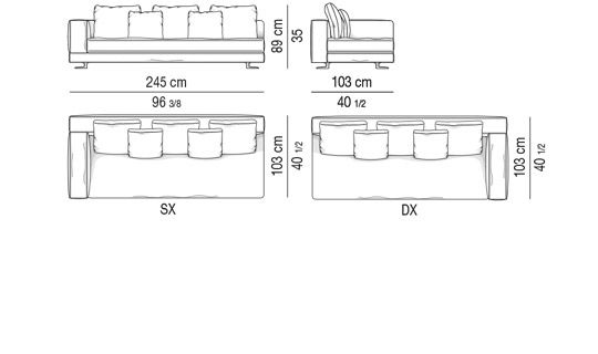 DEPTH CM 103  - ELEMENT 1 ARMREST CM 245