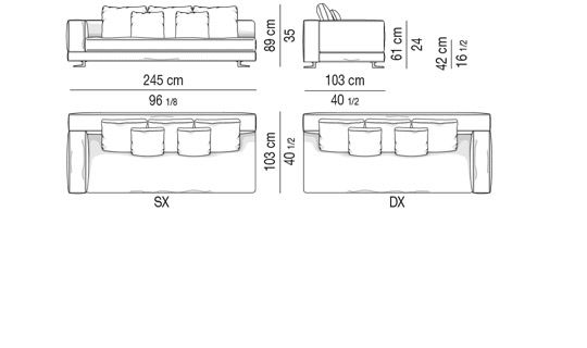 SOFÀ DEPTH CM 103 - SOFÀ ELEMENT 1 ARMREST CM 245