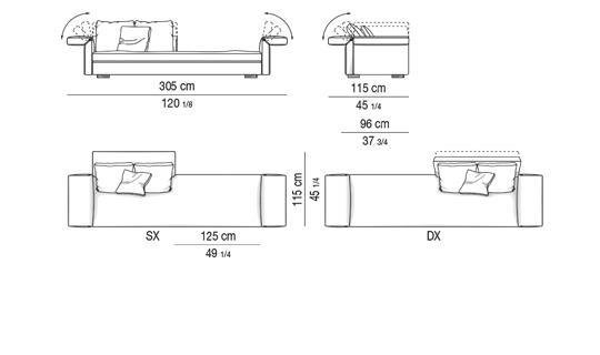 OPEN SOFA CM 305 - BACKREST CM 120