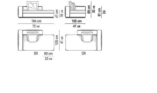 OPEN-END SOFA WITH ARMREST CM 184  - BACKREST CM 100