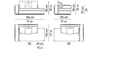 OPEN-END SOFA WITH ARMREST CM 184  - BACKREST CM 120
