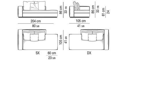 OPEN-END SOFA WITH ARMREST CM 204  - BACKREST CM 120