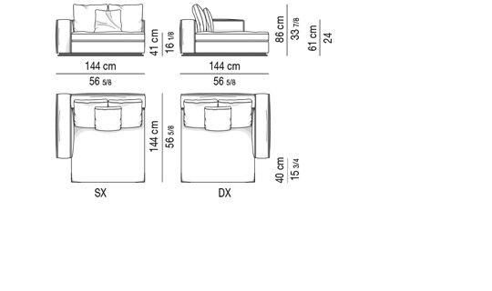 CHAISE-LONGUE CM 144X144 - SHORT ARMREST
