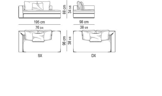 OPEN-END SOFA WITH ARMREST CM 195