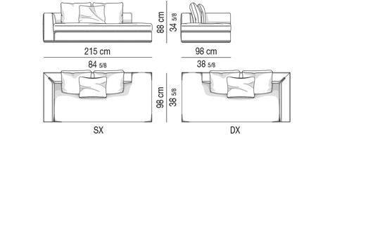 OPEN-END SOFA WITH ARMREST CM 215