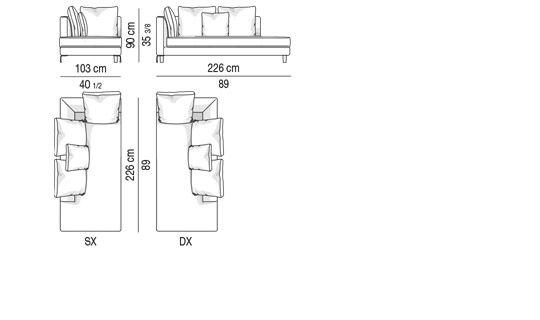 SOFA - CHAISE LONGUE CM 226X103