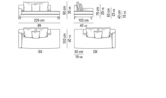 OPEN-END SOFA WITH ARMREST CM226X103