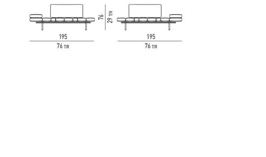 POSSIBLE CONFIGURATIONS WITH: 1 BENCH ELEMENT + 1 BACKREST CM 97 + 1/2 ARMERESTS