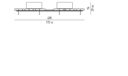 POSSIBLE CONFIGURATIONS WITH: 2 BENCH ELEMENTS + 2 BACKRESTS CM 97 + 1 CONNECTING TABLE CM 48X97