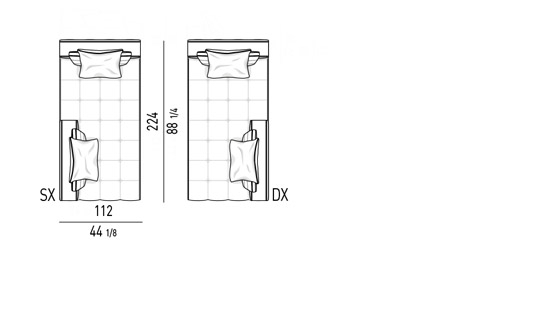 COUCH CM 112X224 - 2 BACKRESTS CM 112