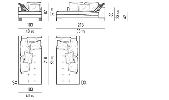 OPENEND CORNER SOFA 103X218