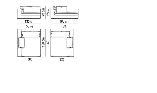 HAMILTON - CHAISE LONGUE CM 135x160