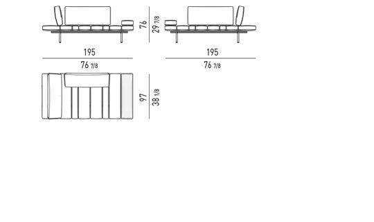 POSSIBLE CONFIGURATIONS WITH: 1 BENCH ELEMENT + 2 BACKRESTS CM 97 + 1 ARMEREST