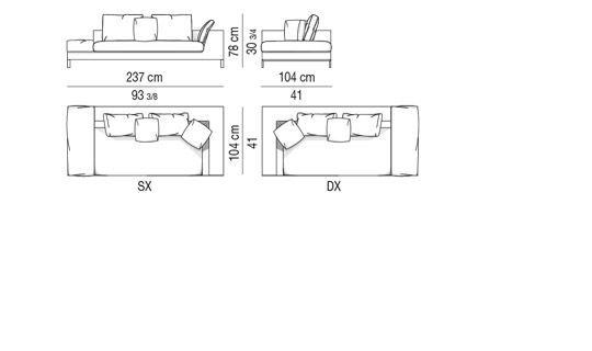 corner sofa with 1 arm-cushion CM 237