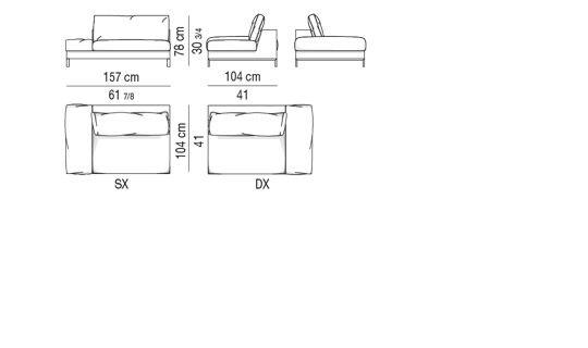Element 1 arm with arm-cushion CM 157