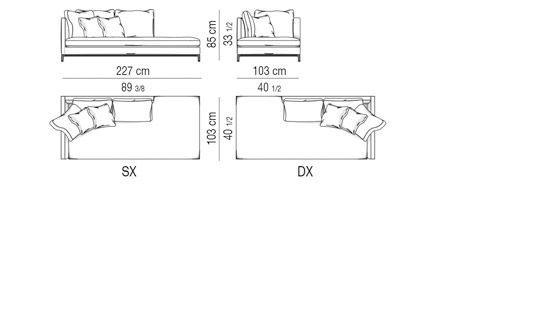 chaise longue cm 227