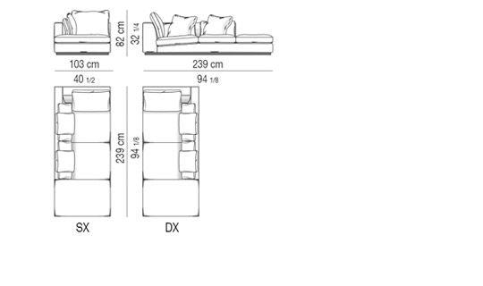 OPEN-END CORNER SOFA cm 103X239