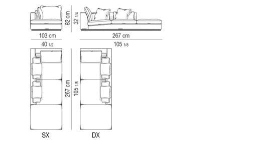 OPEN-END CORNER SOFA cm 103X267