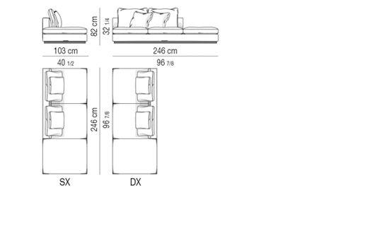 OPEN-END SOFA ELEMENT cm 103X246