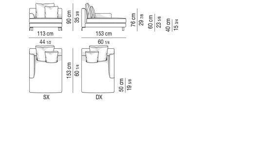 CHAISE LONGUE CM 153X113