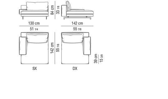 CHAISE LONGUE CM 130X142