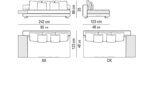 DEPTH CM 123 - ELEMENT CM 242 - TOP CM 44x100