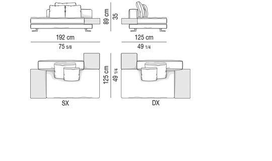 SOFÀ DEPTH CM 103 - SOFÀ-MIX CM 192 -  TOP CM 44x79 AND CM 44x44
