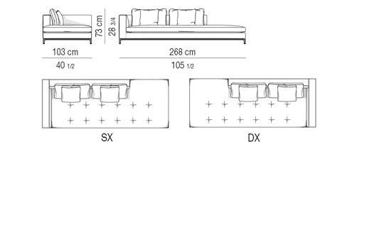 OPEN-END SOFA ELEMENT WITH 1 ARMREST CM 103X268