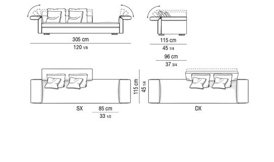 OPEN SOFA CM 305 - BACKREST CM 160