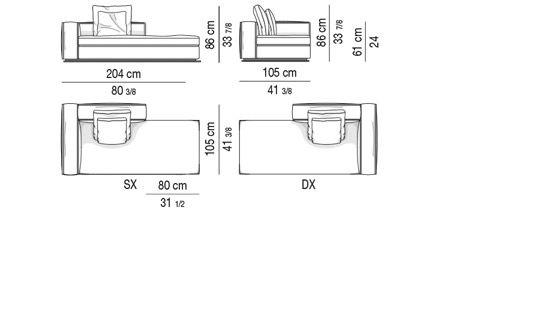 OPEN-END SOFA WITH ARMREST CM 204 - BACKREST CM 100