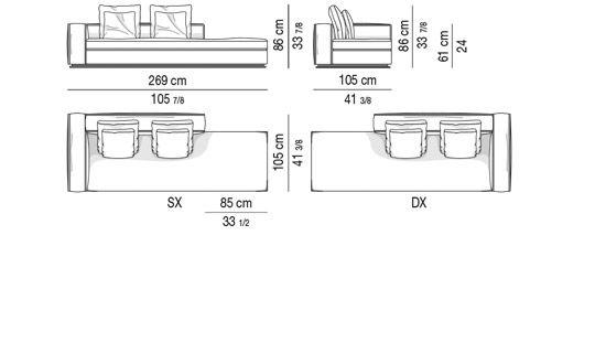 OPEN-END SOFA WITH 1 ARMREST CM 269 - BACKREST CM 160