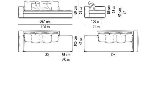 OPEN-END SOFA WITH 1 ARMREST CM 269 - BACKREST CM 180