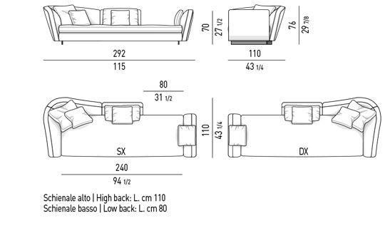 OPEN SOFA MIX CM 292 - BACKREST CM 190